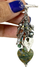 Lampwork Glass Earthy Heart Beaded Pendant Necklace #2249D - Bead Dangle Design