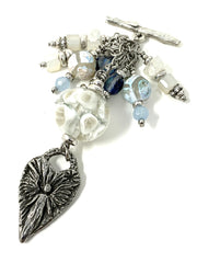 White Lampwork Glass Angel Pendant Beaded Pendant Necklace #2250D - Bead Dangle Design