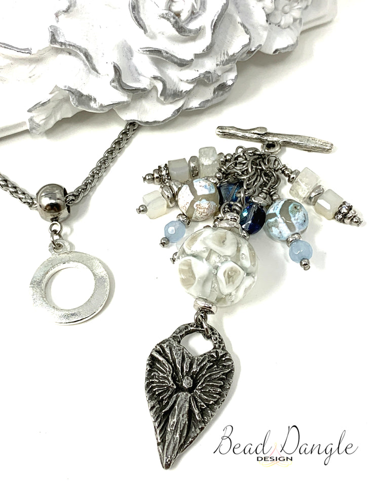 White Lampwork Glass Angel Pendant Beaded Pendant Necklace #2250D