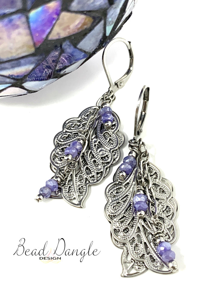Lightweight Mystic Moonstone Filigree Leaf Beaded Dangle Earrings #1014E