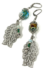 Lightweight Lampwork Glass Filigree Leaf Beaded Dangle Earrings #1015E - Bead Dangle Design