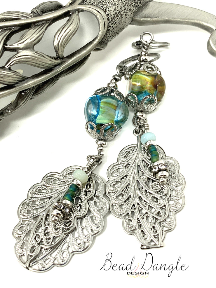 Lightweight Lampwork Glass Filigree Leaf Beaded Dangle Earrings #1015E