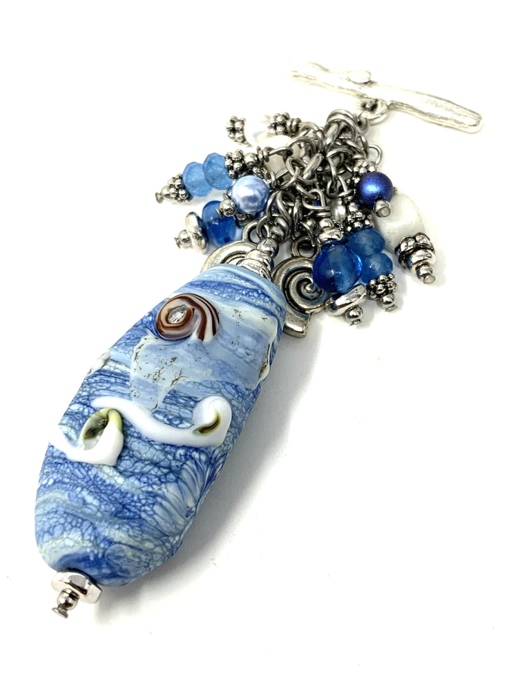 Sky and Water Lampwork Glass Beaded Pendant #2157D - Bead Dangle Design