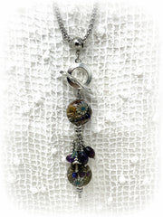 Lampwork Glass and Smokey Quartz Beaded Pendant #2156D