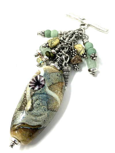 Earthy Beach Sand Lampwork Glass Beaded Pendant #2154D
