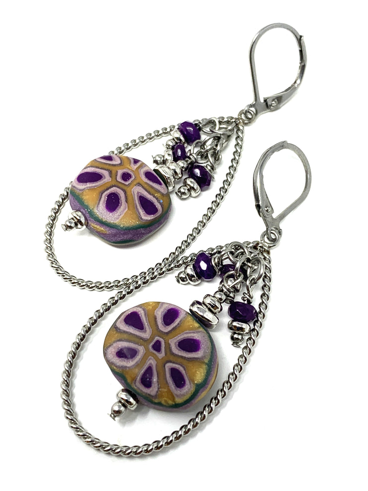 Lightweight Polymer Clay Beaded Dangle Earrings #1016E - Bead Dangle Design