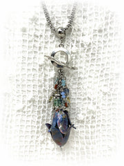 Textured Patina Tulip Glass Beaded Pendant #2171D