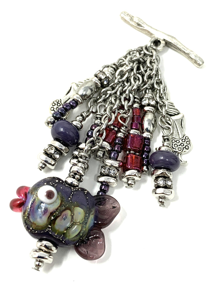 Cutest Little Fishy Handmade Lampwork Glass Beaded Pendant #2170D - Bead Dangle Design