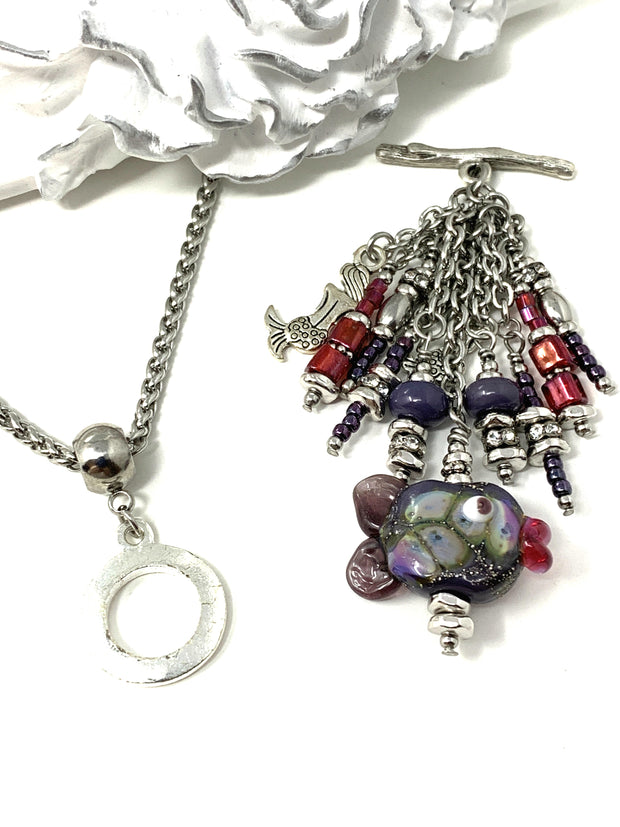 Hummingbird and Tourmaline Beaded Necklace #1464D, Pendant, Bead Dangle Design - Bead Dangle Design