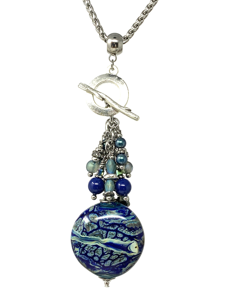 Blue and Green Handmade Lampwork Glass Beaded Pendant #2164D - Bead Dangle Design