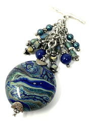 Blue and Green Handmade Lampwork Glass Beaded Pendant #2164D