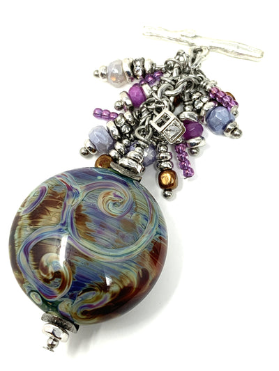 Lampwork Glass Swirl Glass Beaded Pendant #2159D