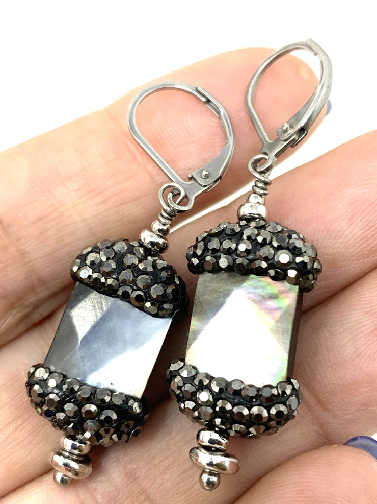 Faceted Mother of Pearl Pave' Beaded Dangle Earrings #1018E