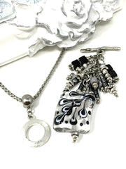 Black and White Teardrop Swirl Beaded Dangle Pendant #2179D