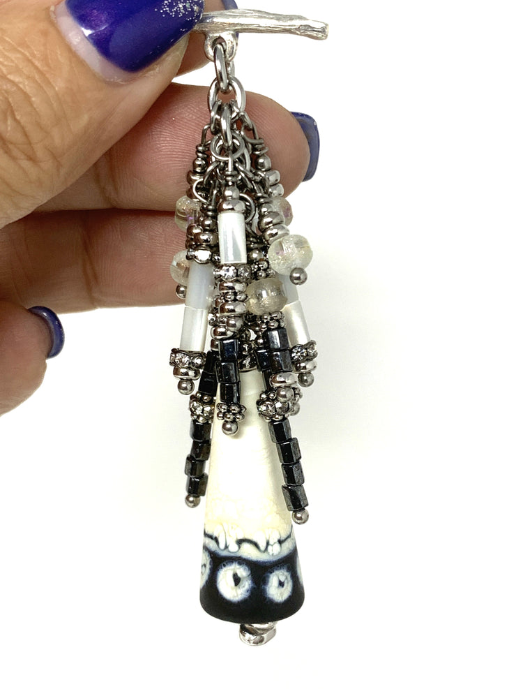 Black and White Handmade Lampwork Glass Beaded Dangle Pendant #2178D