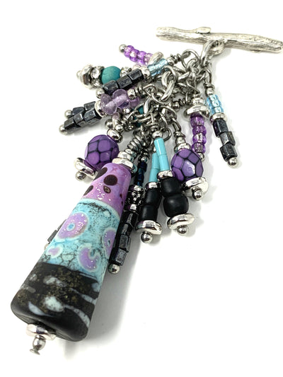 Gorgeous Purple, Turquoise and Black Lampwork Glass Beaded Dangle Pendant #2176D