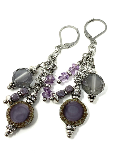 Lavender Czech and Faceted Crystal Beaded Dangle Earrings #1021E - Bead Dangle Design