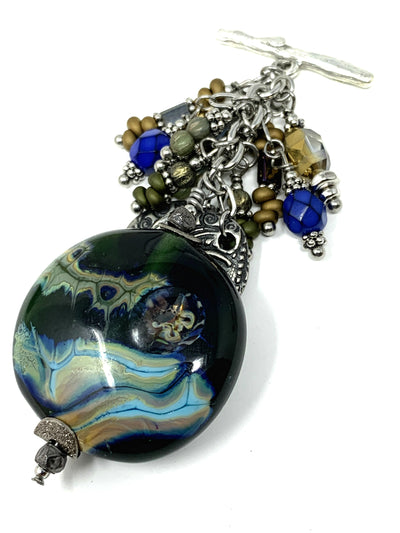Lampwork Glass Dolce Vida Beaded Dangle Pendant #2254D