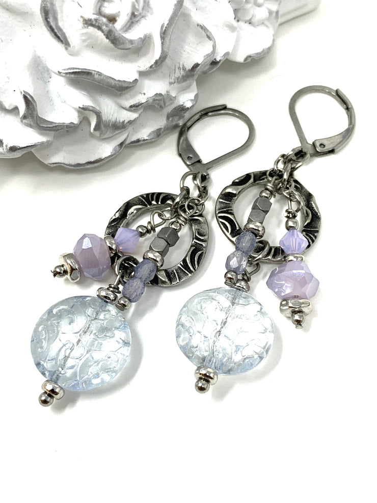 Czech Etched Glass Dolce Vida Beaded Dangle Earrings #1023E