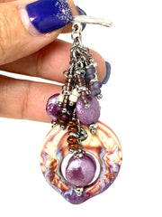Porcelain Coin Pearl Beaded Dangle Pendant #2255D