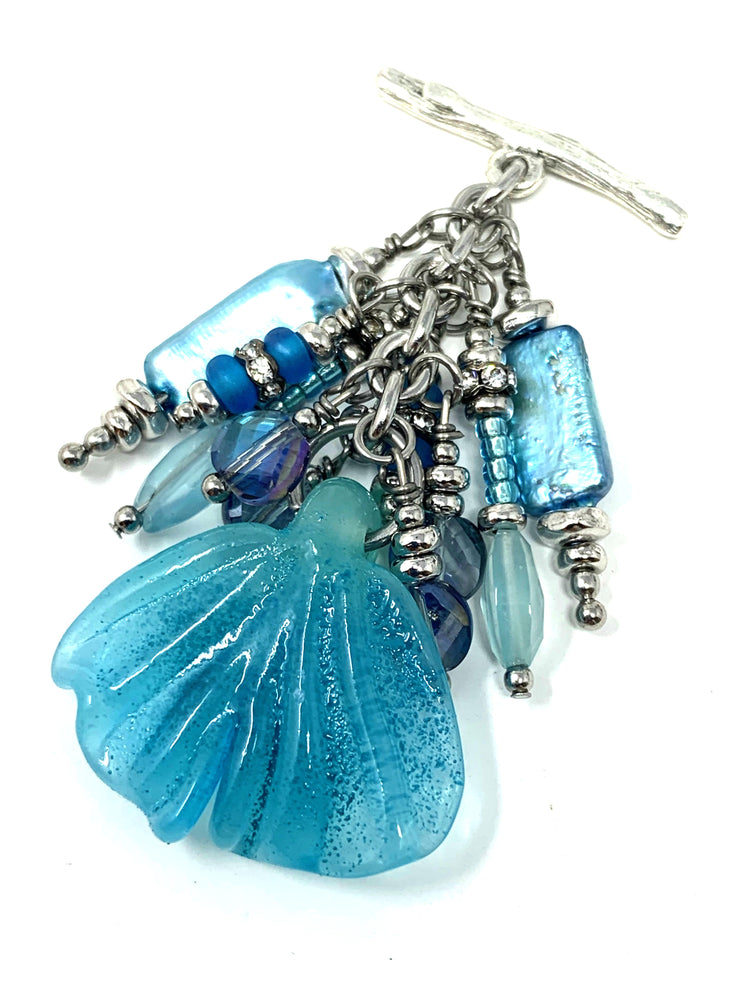 Frosted Lampwork Glass Leaf Beaded Dangle Pendant #2256D - Bead Dangle Design