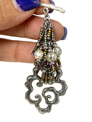 Handmade Solid Pewter Swirl and Seed Bead Beaded Dangle Pendant #2287D
