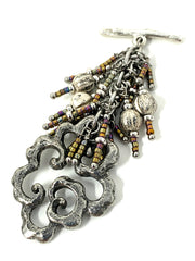 Handmade Solid Pewter Swirl and Seed Bead Beaded Dangle Pendant #2287D - Bead Dangle Design