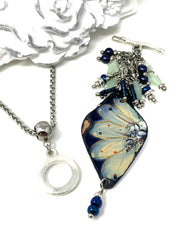 Hand Painted Enamel Floral and Swarovski Pearl Beaded Dangle Pendant #2288D - Bead Dangle Design
