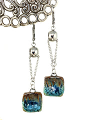 Handmade Ceramic Boho Beaded Dangle Earrings #1026E - Bead Dangle Design