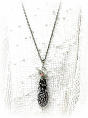 Oval Crystal and Onyx Beaded Dangle Pendant #2292D - Bead Dangle Design
