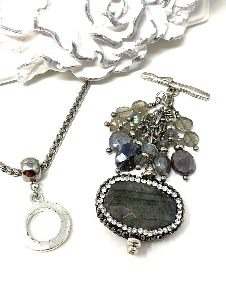 Pave' Labradorite and Mystic Moonstone Gemstone Beaded Dangle Pendant #2293D - Bead Dangle Design