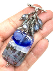 Frosted Moon Lampwork Glass and Mystic Moonstone Beaded Dangle Pendant #2295D - Bead Dangle Design