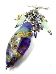 Lavender Swirl Lampwork Glass Beaded Dangle Pendant #2295D - Bead Dangle Design