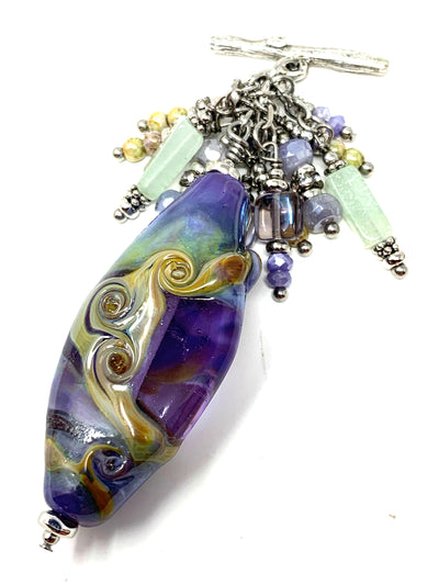 Lavender Swirl Lampwork Glass Beaded Dangle Pendant #2295D