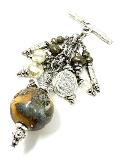 Pyrite and Lampwork Glass Beaded Dangle Pendant #2298D