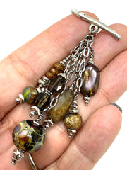 Lampwork Glass Druzy Quartz Beaded Dangle Pendant #2300D - Bead Dangle Design