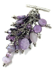 Purple Glass Seed Bead and Purple Amethyst Beaded Dangle Cluster Pendant #2304D