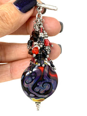 Lampwork Glass Seed Beaded Dangle Cluster Pendant #2310D - Bead Dangle Design