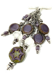 Czech Glass Beaded Dangle Cluster Pendant #2308D - Bead Dangle Design