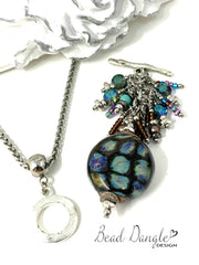 Lampwork Glass Seed Beaded Dangle Cluster Pendant #2307D
