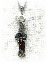 Handmade Lampwork Glass and Seed Beaded Dangle Cluster Pendant #2317D - Bead Dangle Design
