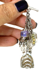Lace Polymer Clay and Lampwork Glass Beaded Dangle Cluster Pendant #2323D