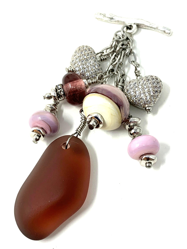 Pave' Heart Sea Glass and Lampwork Glass Beaded Dangle Cluster Pendant #2326D - Bead Dangle Design