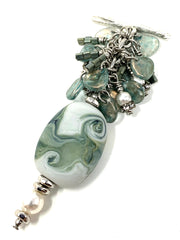 Handmade Lampwork Glass Golden Shimmer Beaded Dangle Cluster Pendant #2329D - Bead Dangle Design