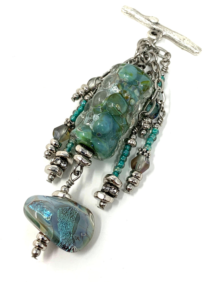 Minty Green Dichroic Lampwork Glass and Seed Beaded Dangle Chandelier Pendant #2330D