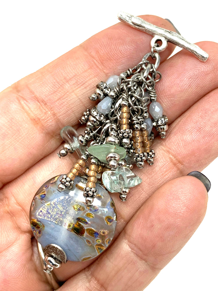 Dichroic Lampwork Glass and Seed Beaded Dangle Chandelier Pendant #2331D - Bead Dangle Design