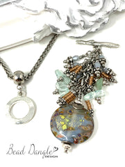 Dichroic Lampwork Glass and Seed Beaded Dangle Chandelier Pendant #2331D