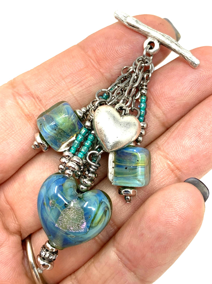 Dichroic Lampwork Glass Heart Beaded Dangle Pendant #2332D - Bead Dangle Design