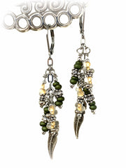 Feather and Frosted Glass Beaded Dangle Earrings #1031E - Bead Dangle Design