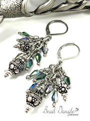 Faceted Crystal Antique Pewter Beaded Dangle Earrings #1034E - Bead Dangle Design